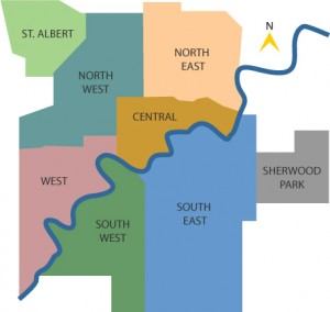 Map showing Saint Albert's proximity to Edmonton